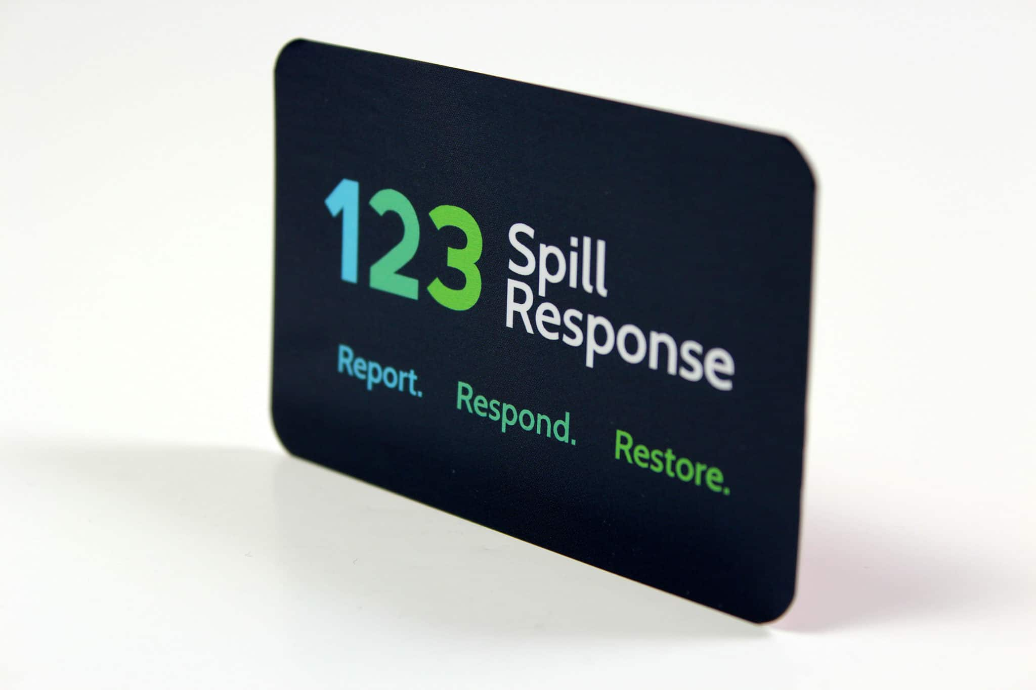 Printed Die-Cut 123 Spill Response card for OHES - Dark Blue