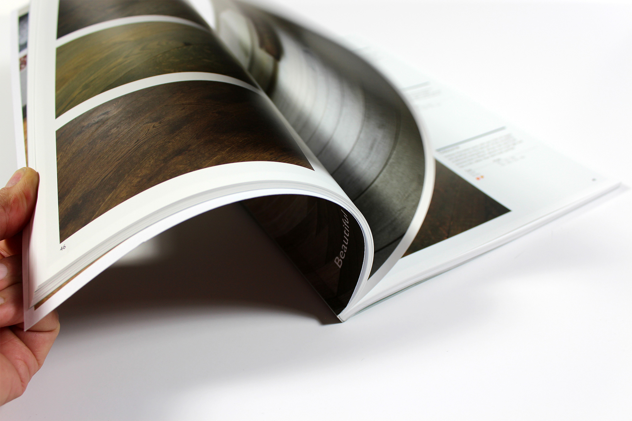 Perfect bound brochure text pages
