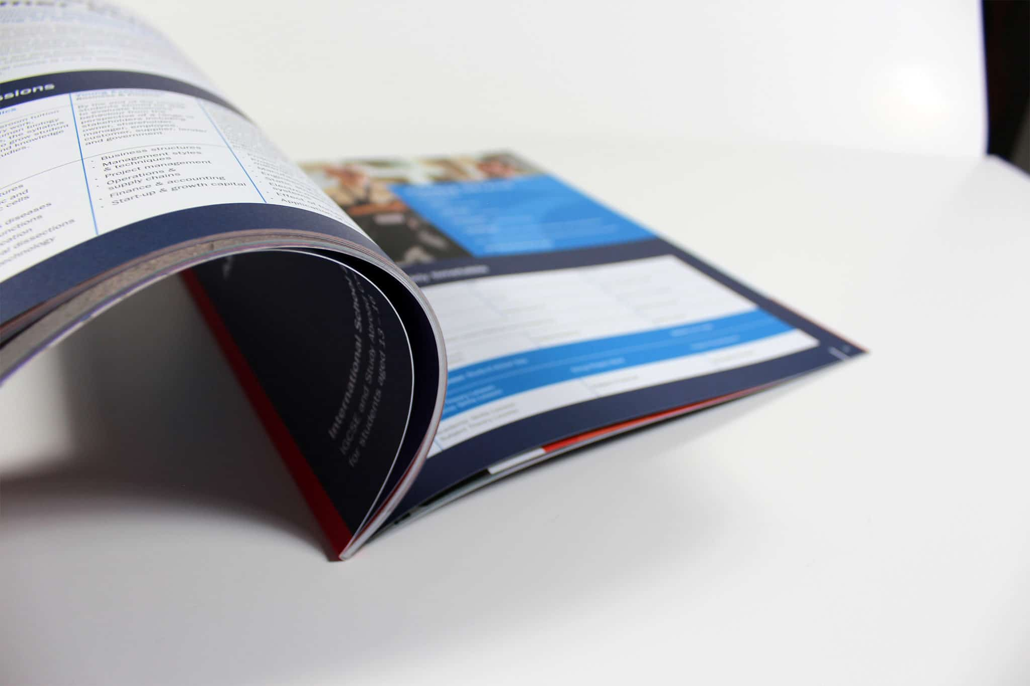 Printed School Prospectus with pages open