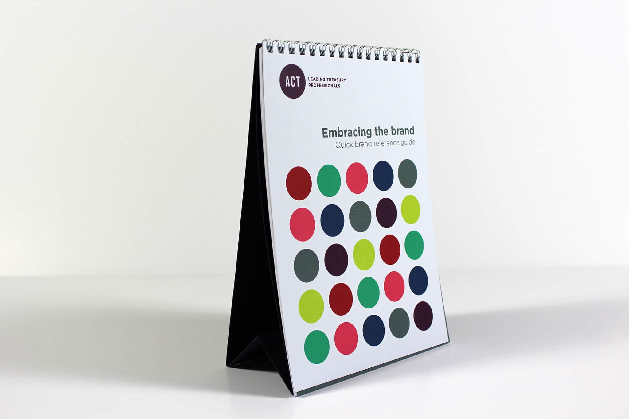 Printed Wiro-bound brand guidelines for ACT - tent card calendar style