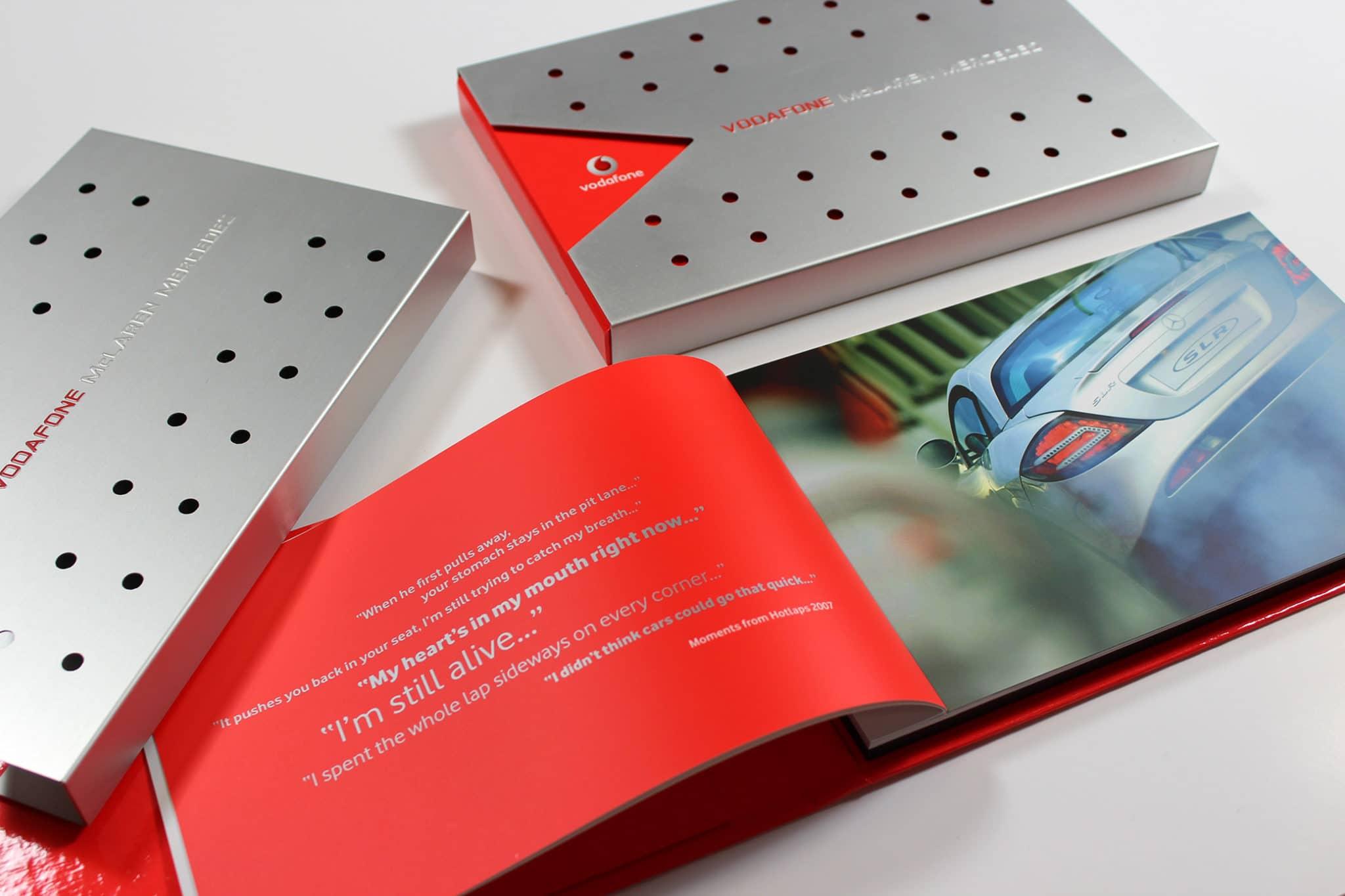 Vodafone Hotlaps metal sleeve with brochure insert
