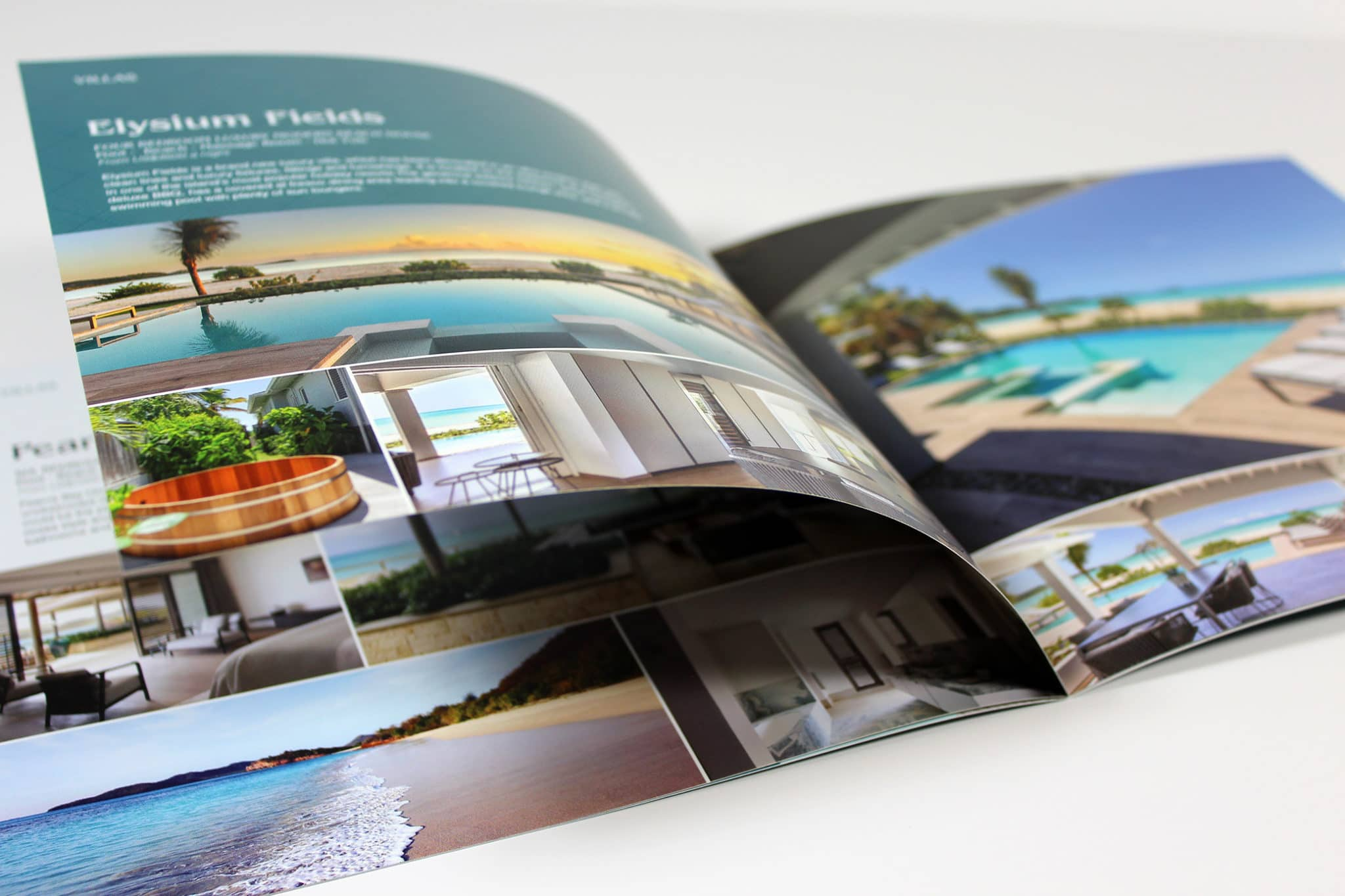 Inside text pages for travel brochure